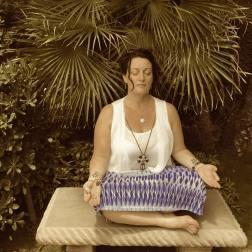 meditating in Yogananda gardens
